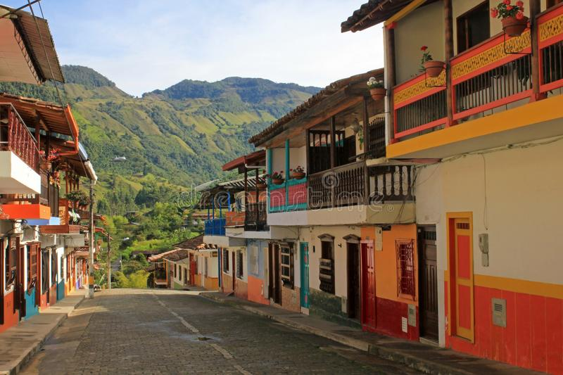 Colorful houses in colonial city Jardin, Antoquia, Colombia royalty free stock photo