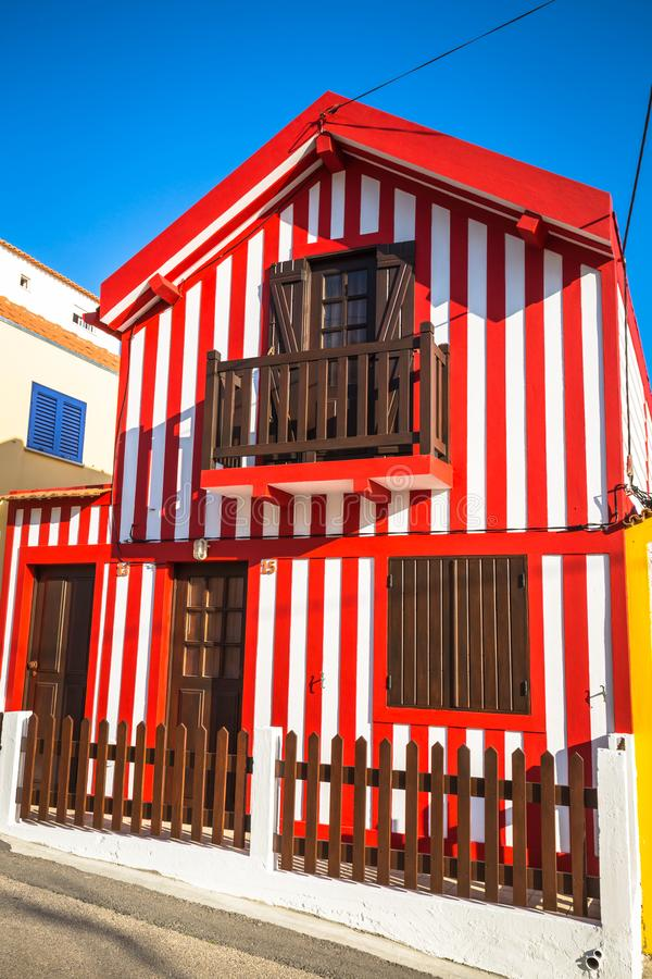 Colorful houses in Costa Nova, Aveiro, Portugal.  royalty free stock images