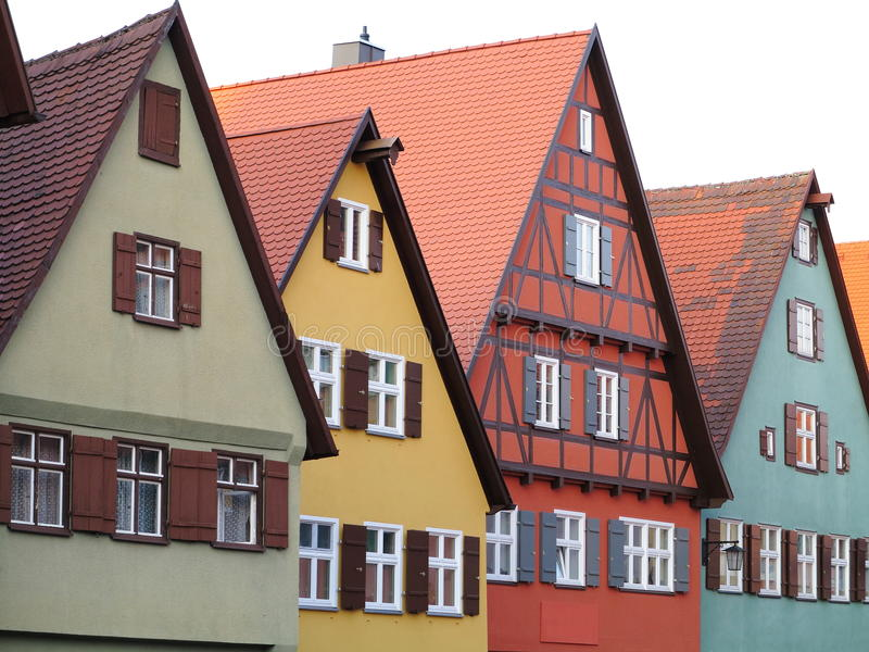 Colorful house facades. Characteristic facades of Fachwerkhaus buildings - in the historic town Dinkelsbühl, Germany royalty free stock photos
