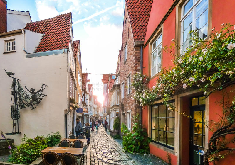 Colorful houses in famous Schnoorviertel in Bremen, Germany. Colorful houses in historic Schnoorviertel in Bremen, Germany stock photo
