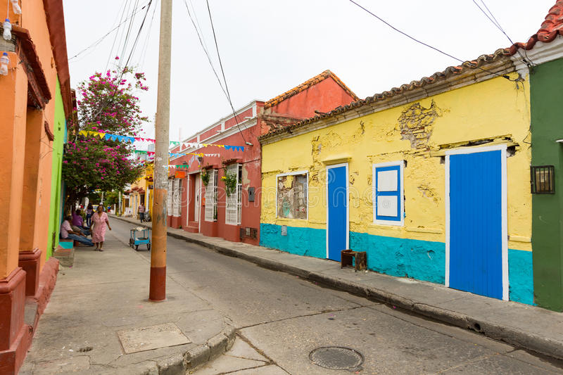 Colorful houses in getsemani royalty free stock images