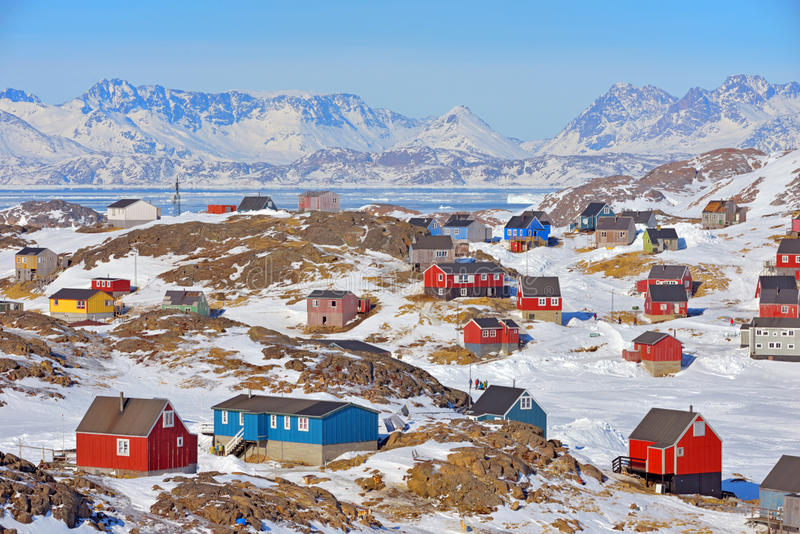Colorful houses in Greenland stock images