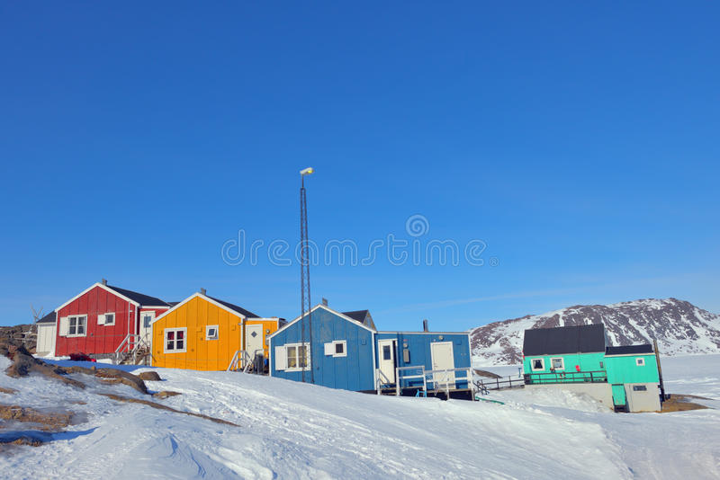 Colorful houses in Greenland stock photography