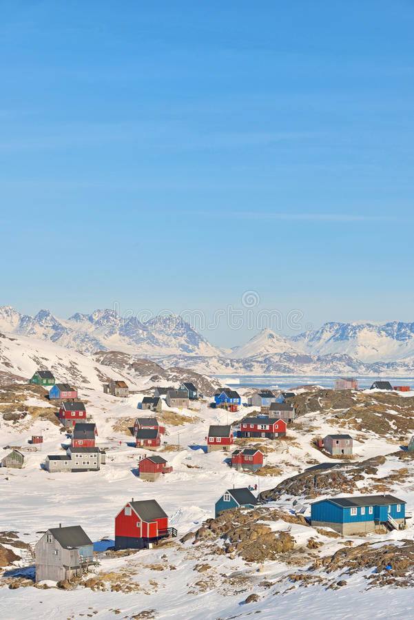 Colorful houses in Greenland royalty free stock images