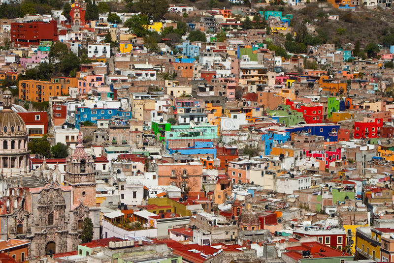 Colorful houses on the hills stock photo