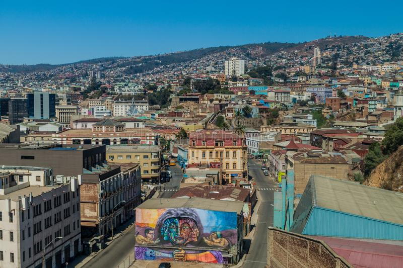 Colorful houses on hills of Valparaiso stock images