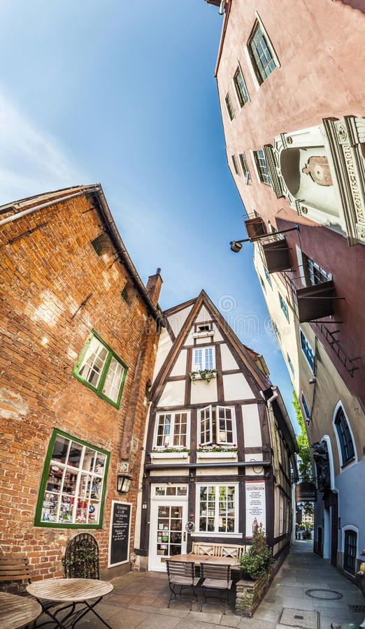 Colorful houses in historic Schnoorviertel in Bremen, Germany. Bremen, Germany - MAY 13, 2016: Houses in the quarter Schnoor, an old town street in downtown stock images