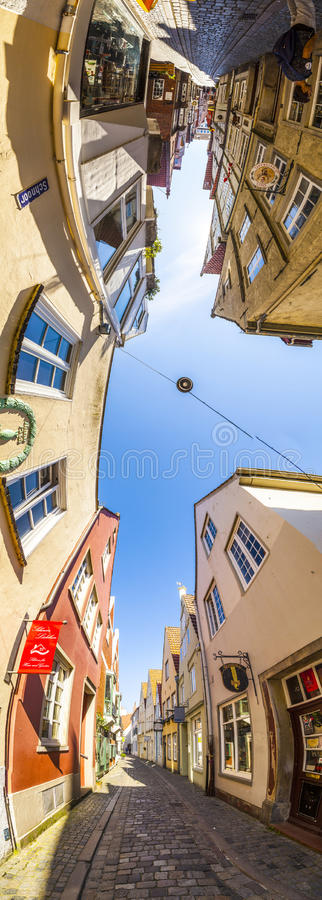 Colorful houses in historic Schnoorviertel in Bremen, Germany. Bremen, Germany - MAY 13, 2016: Houses in the quarter Schnoor, an old town street in downtown royalty free stock photos
