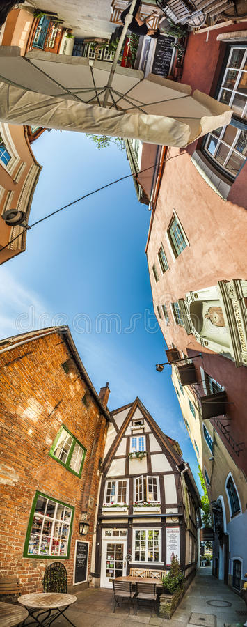 Colorful houses in historic Schnoorviertel in Bremen, Germany. Bremen, Germany - MAY 13, 2016: Houses in the quarter Schnoor, an old town street in downtown stock photos