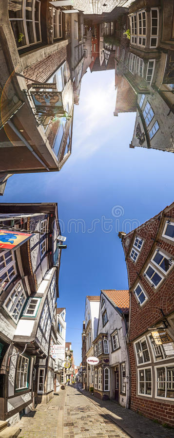 Colorful houses in historic Schnoorviertel in Bremen, Germany. Bremen, Germany - MAY 13, 2016: Houses in the quarter Schnoor, an old town street in downtown royalty free stock images