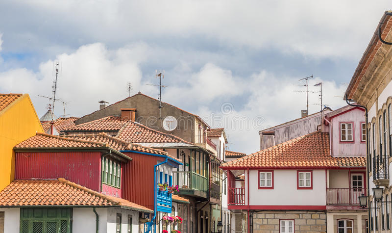 Colorful houses in the historical center of Chaves. Portugal stock image