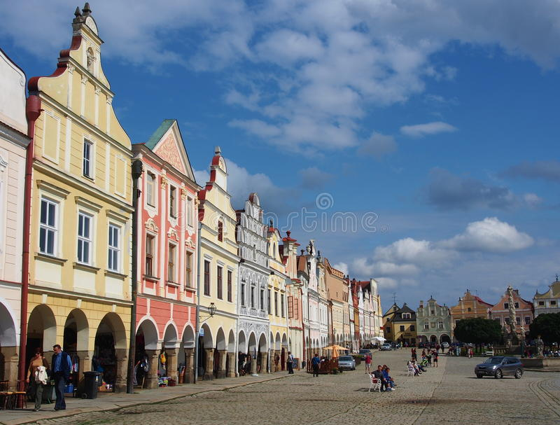 Colorful houses in the historical square in Telc royalty free stock photography