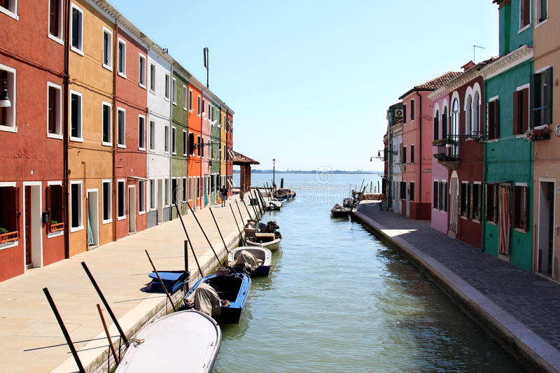 Colorful houses of the island Burano, Italy royalty free stock images
