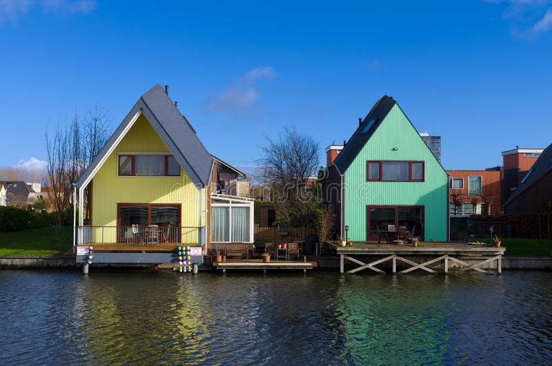Colorful houses. At the island district, Almere, the youngest city in the Netherlands royalty free stock photography