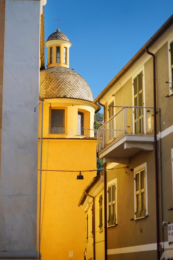 Colorful houses of Lerici town, located in the province of La Spezia in Liguria, part of the Italian Riviera. Italy royalty free stock photos