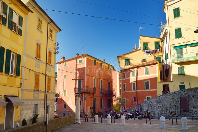Colorful houses of Lerici town, located in the province of La Spezia in Liguria, part of the Italian Riviera. Italy royalty free stock images