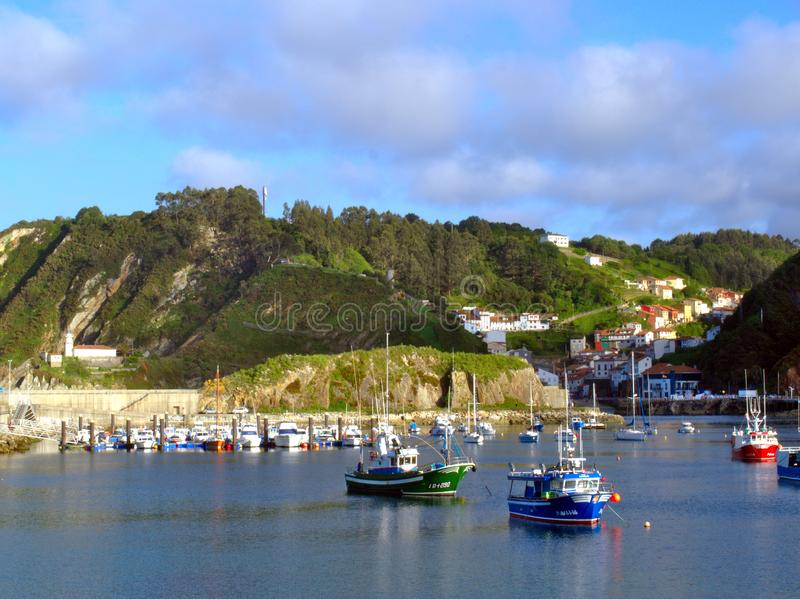 Cudillero´s harbour in a summer day royalty free stock image