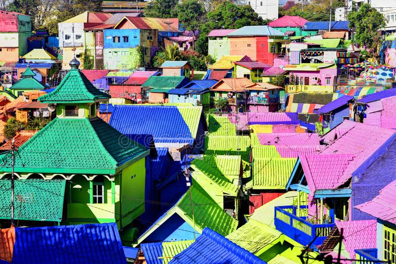 Colorful houses of Malang royalty free stock photos