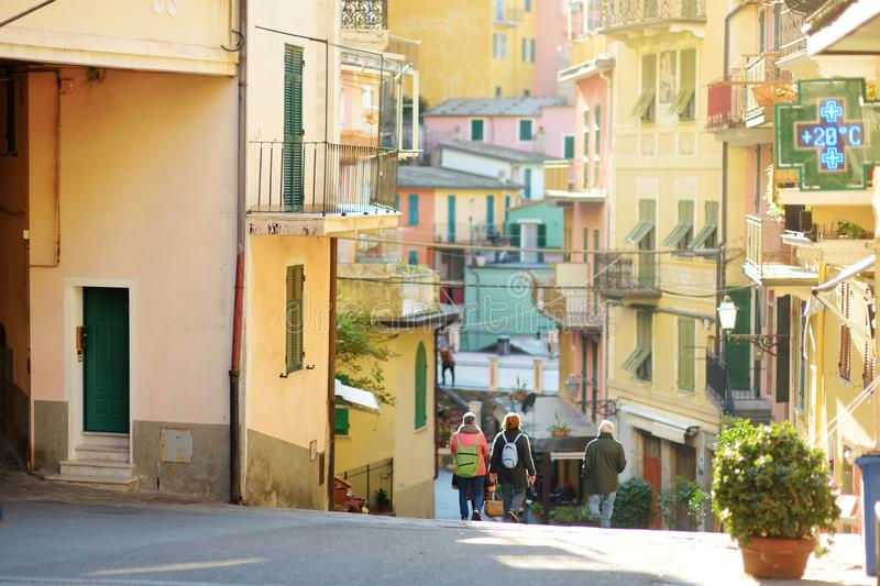Colorful houses of Manarola, one of the five centuries-old villages of Cinque Terre, Italian Riviera, Liguria, Italy. Colorful houses of Manarola, one of the royalty free stock photo