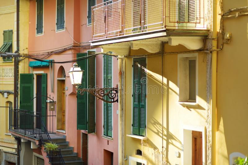 Colorful houses of Manarola, one of the five centuries-old villages of Cinque Terre, Italian Riviera, Liguria, Italy. Colorful houses of Manarola, one of the royalty free stock photography