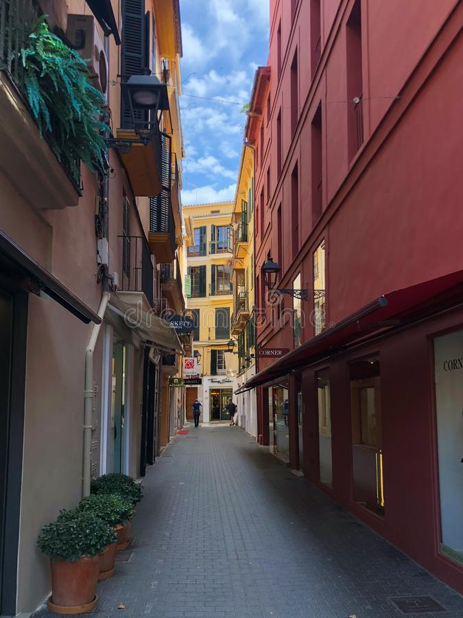 Colorful houses in the mediterranean old town of Palma, Spain Majorca, Balearic Islands. royalty free stock photo