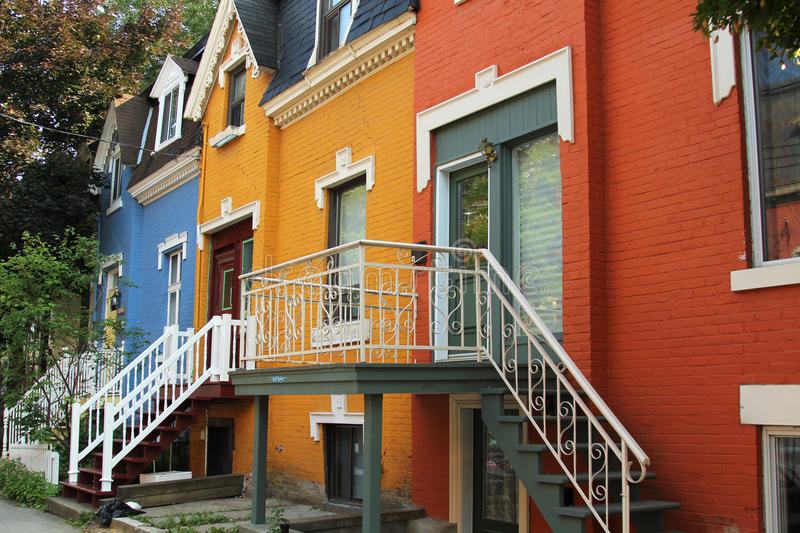 Colorful houses in Montreal royalty free stock image