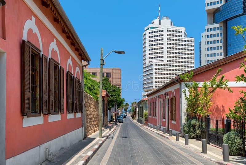 Colorful houses of Neve Tzedek in Tel Aviv. royalty free stock images