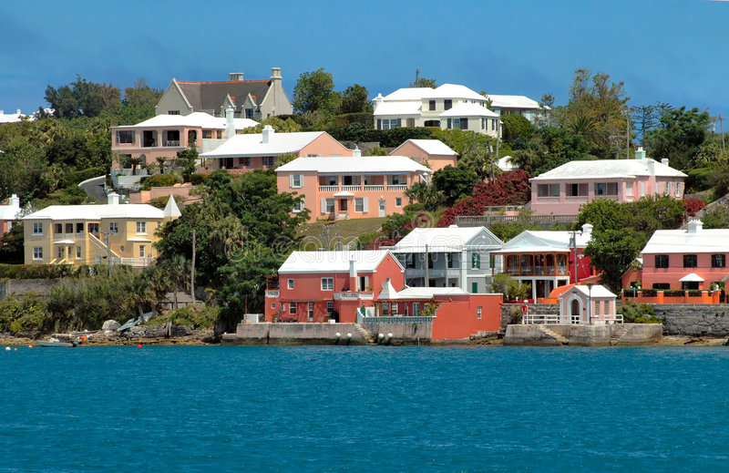 Colorful houses on the ocean in Bermuda stock photo