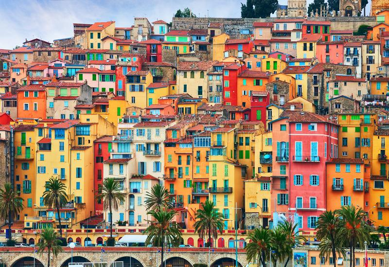 Colorful houses in old part of Menton, French Riviera, France.  stock images