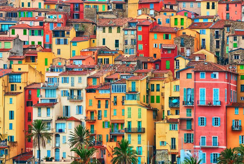 Colorful houses in old part of Menton, French Riviera, France.  stock photo
