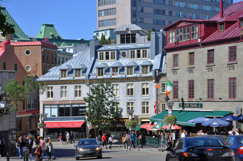 Colorful Houses in Old Quebec City. Colorful Houses on Rue Saint Jean, Old Quebec City, Quebec, Canada. Historic District of Quebec City is UNESCO World Heritage stock photos