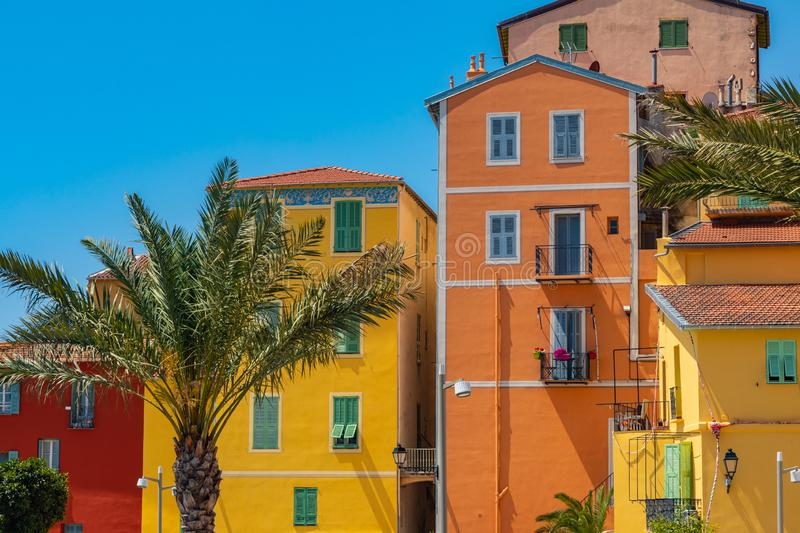 Colorful houses in old town architecture of Menton on French Riviera. Provence-Alpes-Cote d`Azur, France.  royalty free stock image