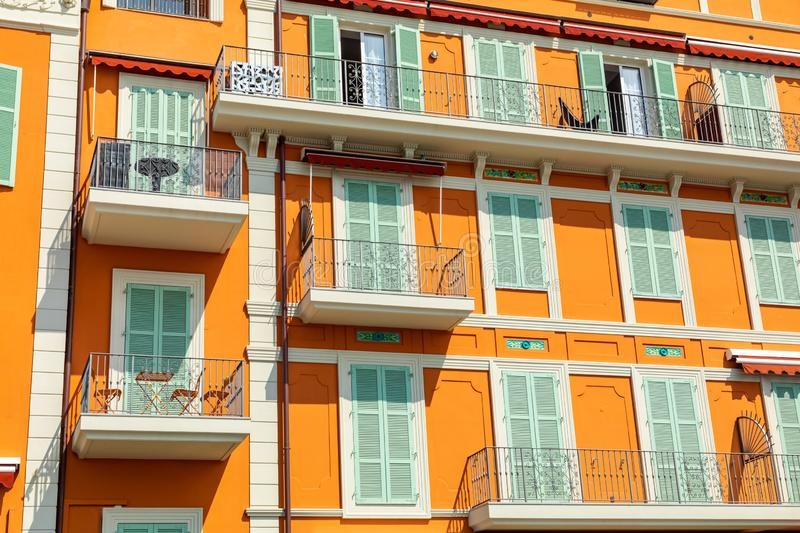 Colorful houses in old town architecture of Menton on French Riviera. Provence-Alpes-Cote d`Azur, France.  stock photo