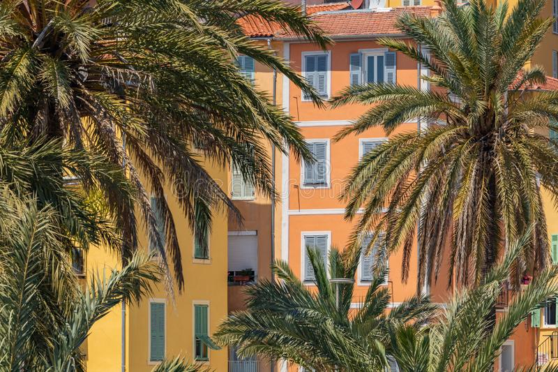 Colorful houses in old town architecture of Menton on French Riviera. Provence-Alpes-Cote d`Azur, France.  royalty free stock images