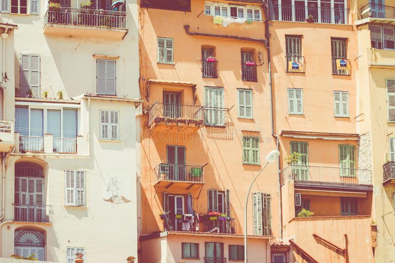 Colorful houses in old town architecture of Menton on French Riviera. Provence-Alpes-Cote d`Azur, France.  stock photography