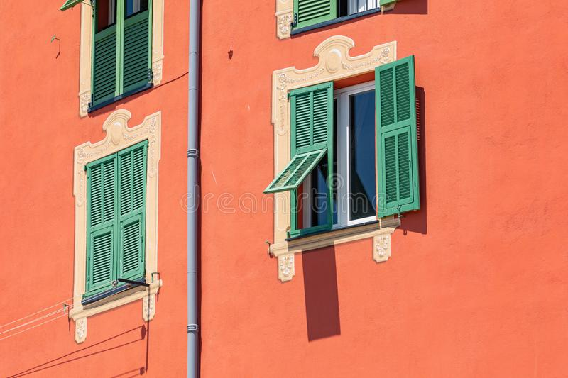 Colorful houses in old town architecture of Menton on French Riviera. Provence-Alpes-Cote d`Azur, France.  stock photos