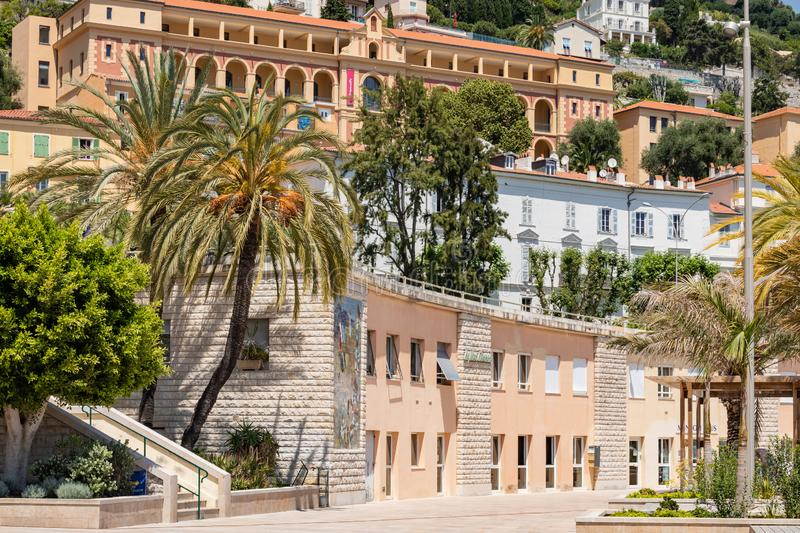 Colorful houses in old town architecture of Menton on French Riviera. Provence-Alpes-Cote d`Azur, France.  royalty free stock photo