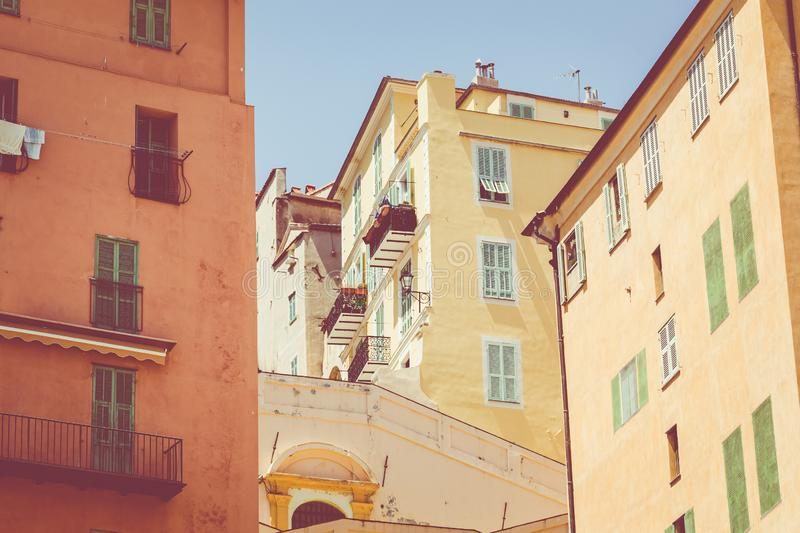 Colorful houses in old town architecture of Menton on French Riviera. Provence-Alpes-Cote d`Azur, France.  stock images