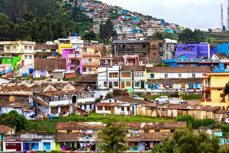 The colorful houses of Ooty, India. Ooty, India - August 25, 2018: View ot he colorful houses of Ooty, a town in the Nilgir Mountains. Its natural environment royalty free stock image