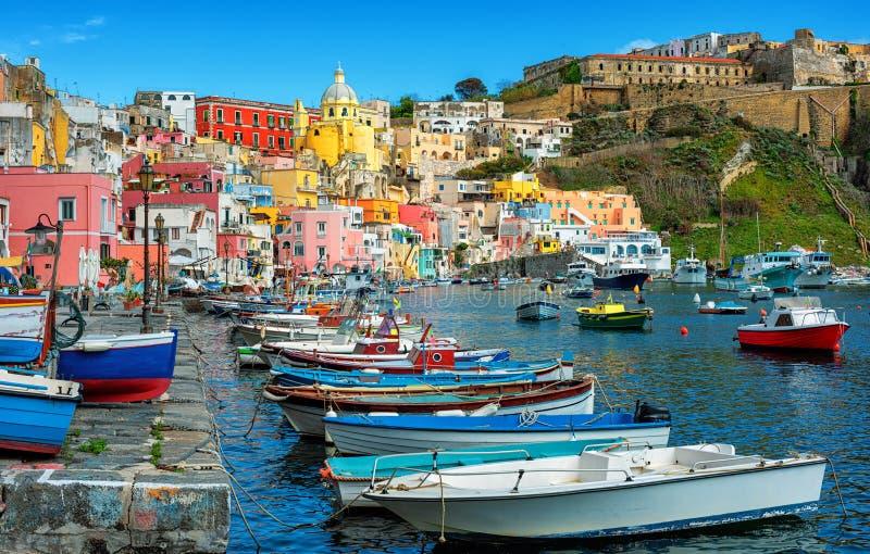 Marina di Corricella, Procida island, Naples, Italy royalty free stock photos