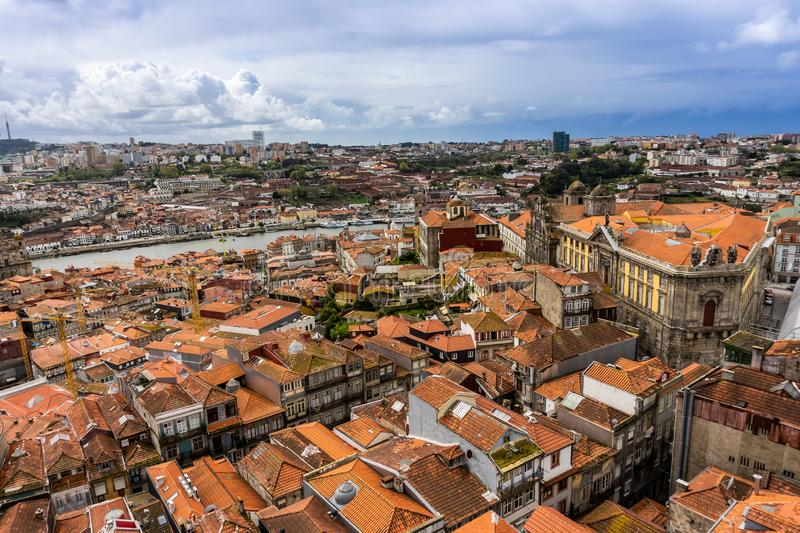 Colorful houses of Porto Ribeira, traditional facades, with red roof tiles stock photos