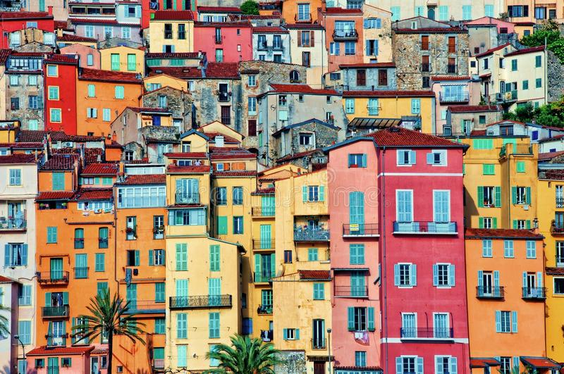 Colorful houses in Provence village of Menton royalty free stock images
