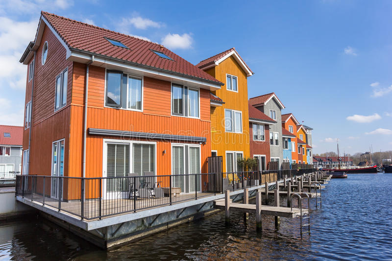 Colorful houses at the Reitdiephaven in Groningen stock photography