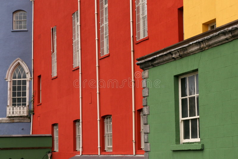 Colorful houses on a row in a Dublin street stock photography