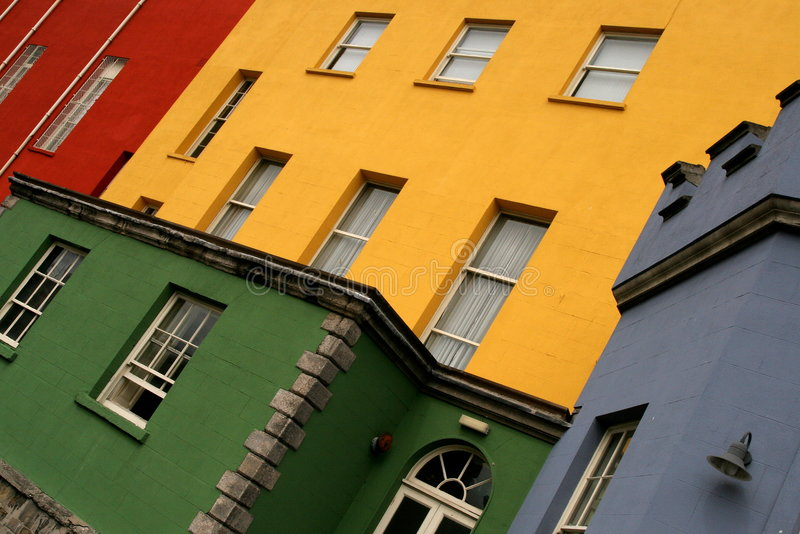 Colorful houses on a row in a Dublin street stock image