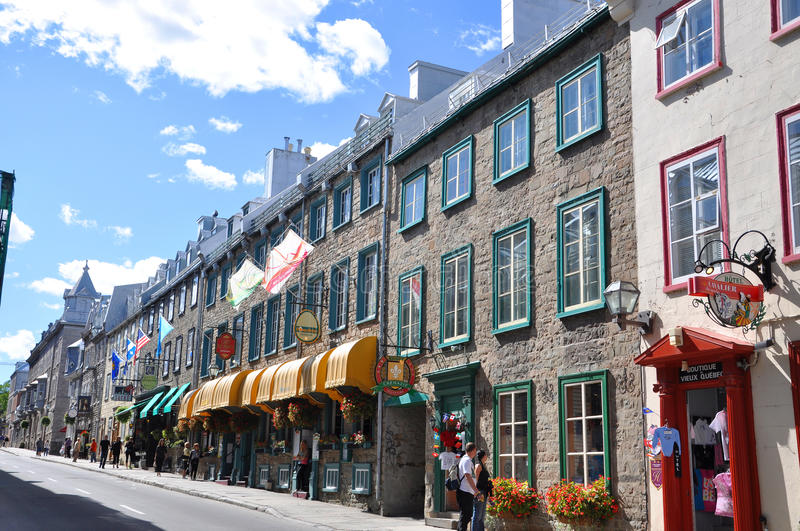 Colorful Houses on Rue Saint Louis, Quebec City royalty free stock photos