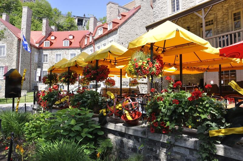 Quebec City, 28th June: Colorful Houses from Rue Sous le Fort of Quebec City in Canada royalty free stock photo