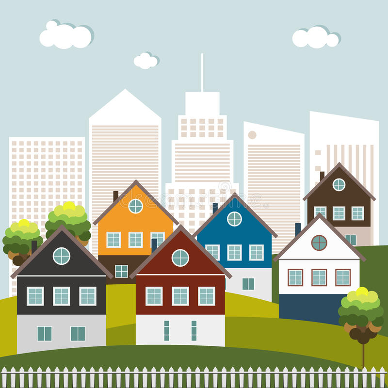 Colorful Houses For Sale/ Rent. Real Estate Concept royalty free illustration