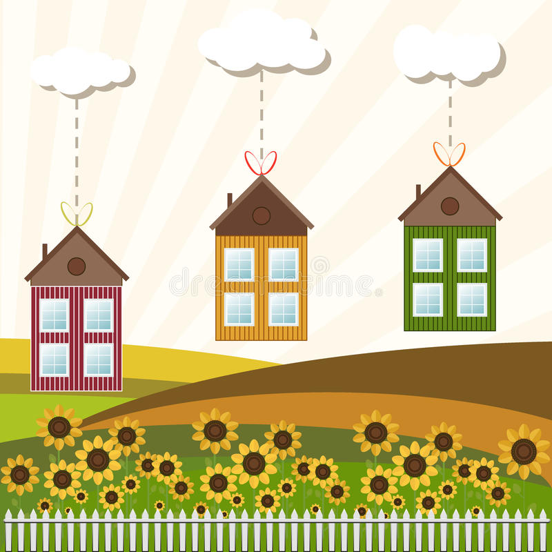 Colorful Houses For Sale / Rent. Real Estate stock illustration