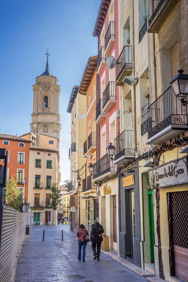 Colorful houses and San Lorenzo church in Huesca. Spain stock photo